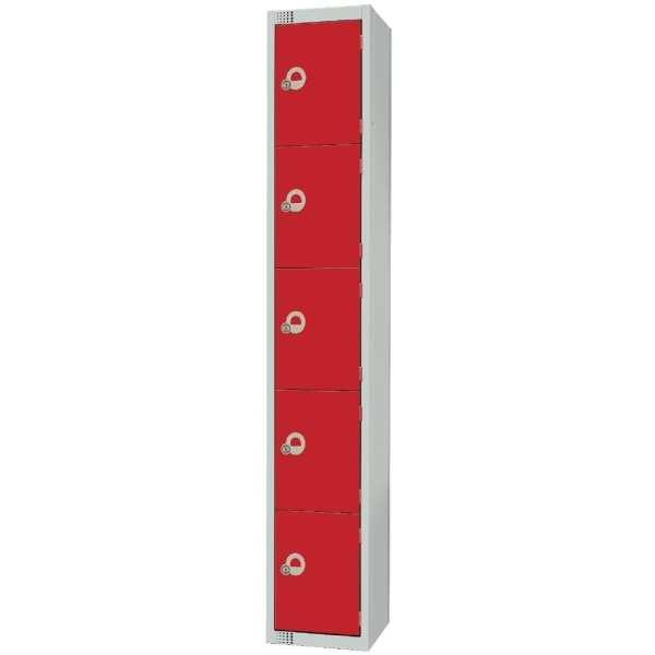 450mm Deep Locker 5 Door Camlock Red (Direct)-0