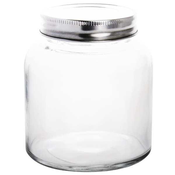 Vogue Glass Jar with St/St Lid - 84(dia)x100(h)mm 330ml 12oz (Box 6)-0