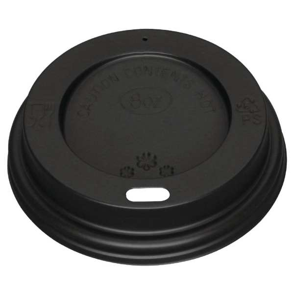 Fiesta Lid For Hot Cups Black - 8oz (Pack 1000)