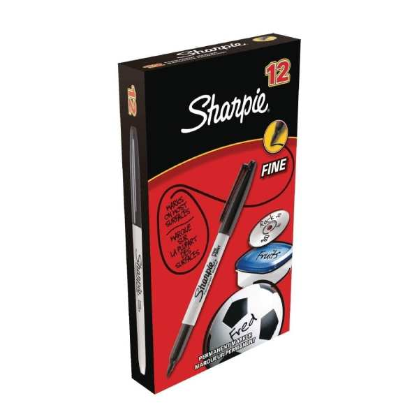 Sharpie Fine Permanent Marker Black Tuck (Pack 12)-0