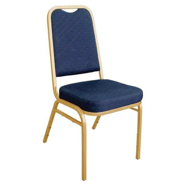 Bolero Banqueting Chair Squared Back Gold Frame Blue Plain Cloth (Pack 4)-0