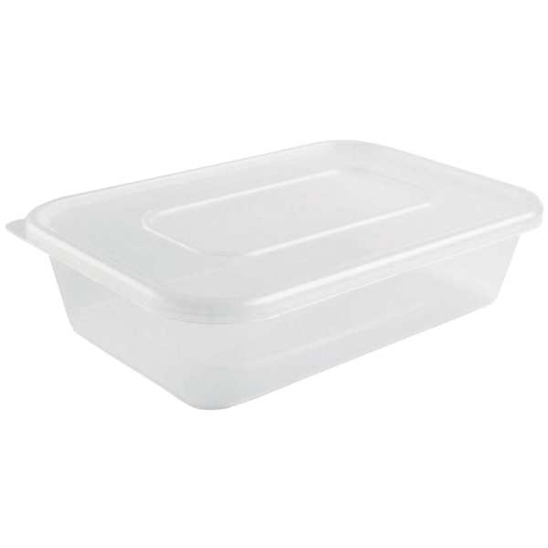 Microwave Plastic Container - 500ml with Lids (Box 250)-0