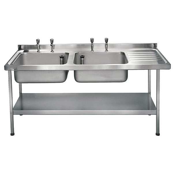 Sissons St/St Sink 1800mm Dbl L/H Bwl taps R/H Drainer Midi Range F/Asmb(Direct)-0