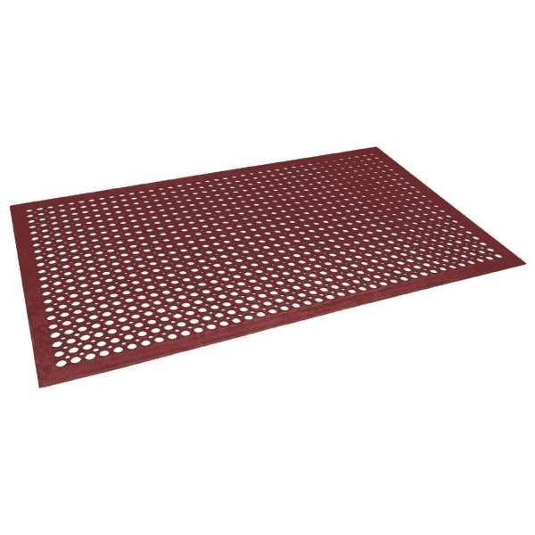 Jantex Rubber Grease-resistant Anti-Fatigue Mat Red - 1500x900mm-0