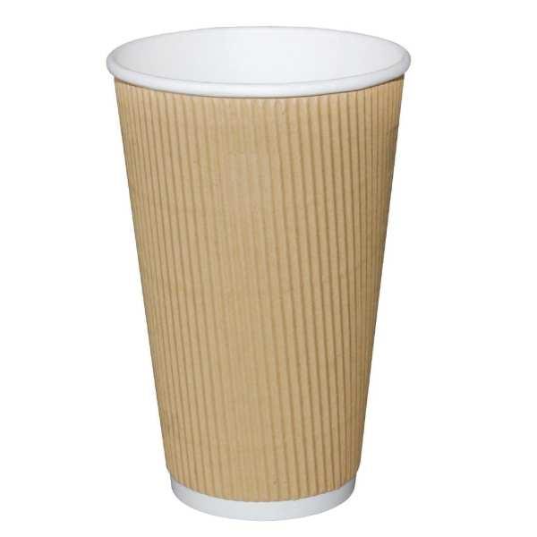 Fiesta Hot Cups Ripple Wall Kraft - 455ml (16oz) (Box 500)-0