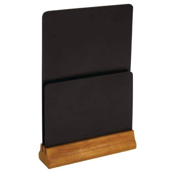 """Olympia Double Blackboard Menu Holder - 325(h)x210(w)x55(d)mm 12 3/4x8.25x2 1/4""""-0"""