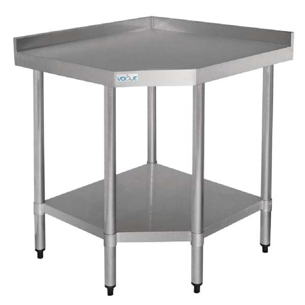 Vogue Stainless Steel Corner Table - 960(h) x 900(w) x 700(d)mm-0