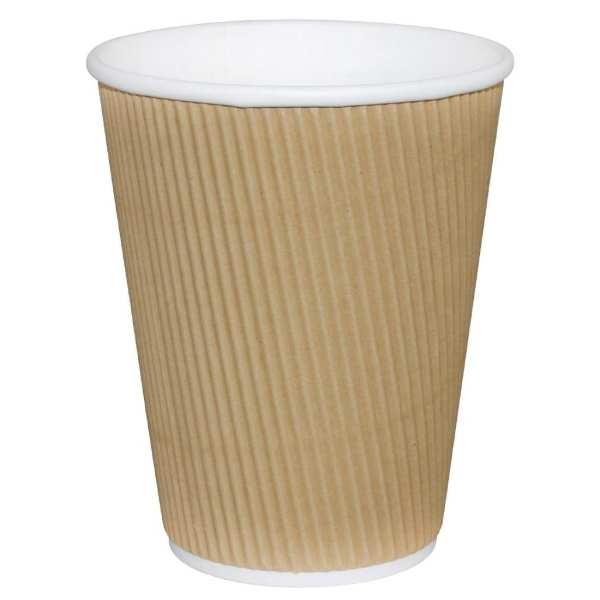 Fiesta Hot Cups Ripple Wall Kraft - 341ml (12oz) (Box 500)-0