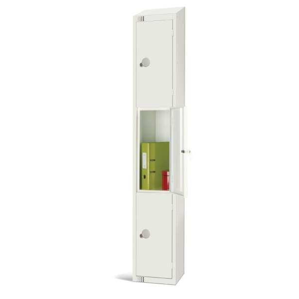 300mm Deep Locker 3 Door Padlock White with Sloping Top (Direct)-0