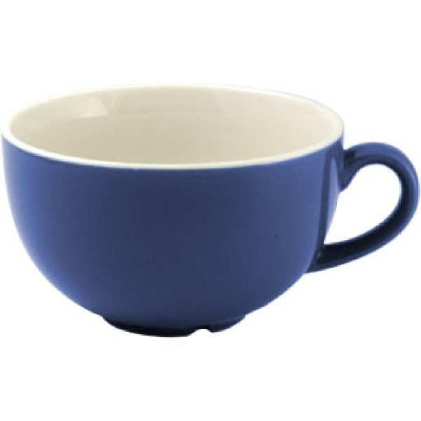 New Horizons Coloured Border Blue Cappuccino Cup Solid 10oz (Box 24) (Direct)-0