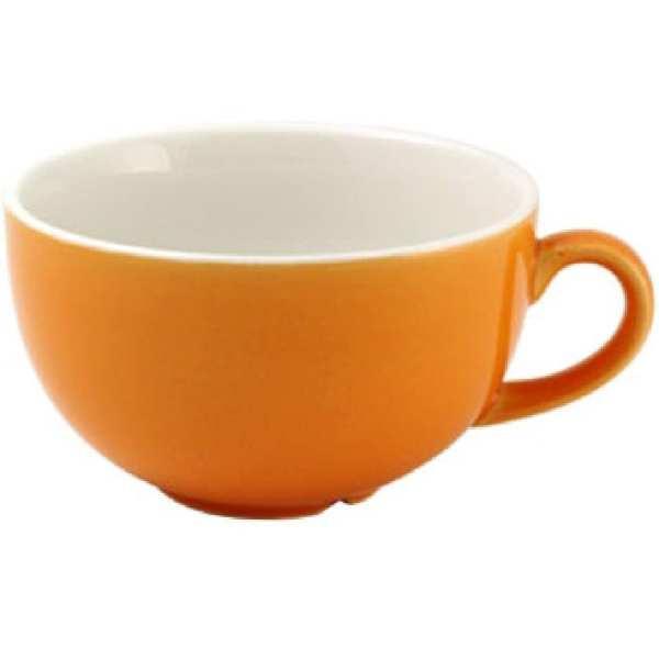 New Horizons Coloured Border Orange Cappuccino Cup Solid 10oz (Box 24) (Direct)-0