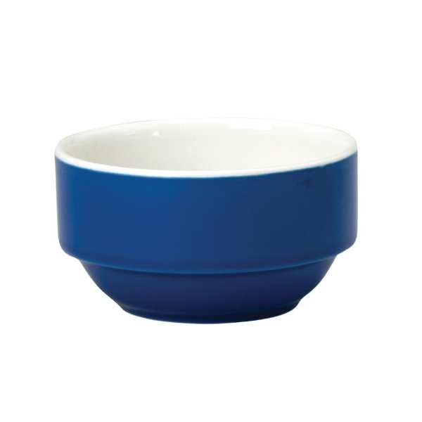 New Horizons Coloured Border Blue Consomme Bowl Solid 10oz (Box 24) (Direct)-0