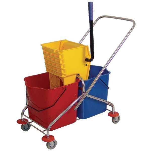 Dual Bucket Mop Wringer with Frame - (2 x 23Ltr Buckets)