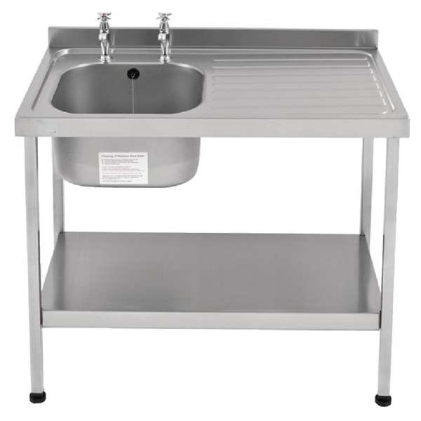 Sissons St/St Sink - 1200mm L/H Bowl inc taps & R/H Drainer Mini Range (Direct)-0