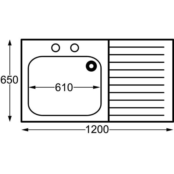 Sissons St/St Sink - 1200mm L/H Bowl inc taps & R/H Drainer Midi Range (Direct)-0