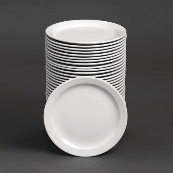 "Bulk Buy - Athena Hotelware Narrow Rimmed Plate - 22.6cm 9"" (Box 36)"