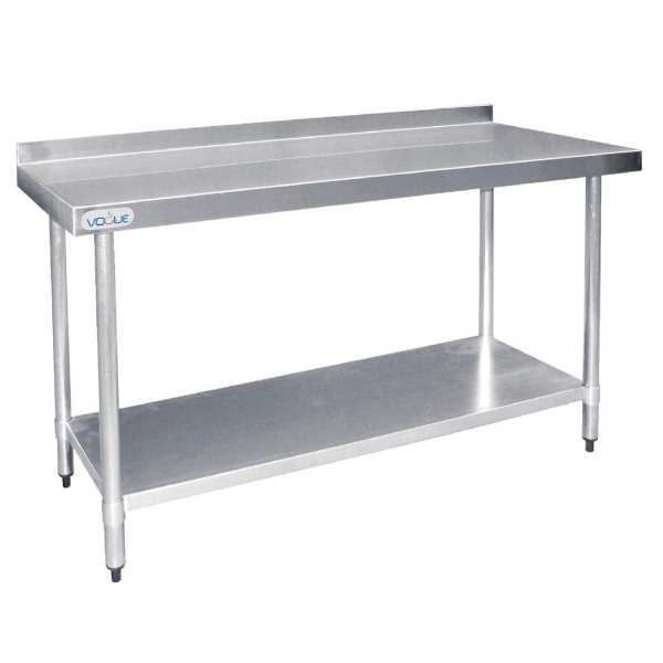 Vogue St/St Wall Table 60mm Upstand - 1500x600mm-0
