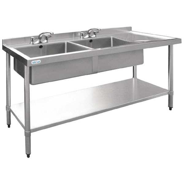 Vogue Double Bowl Sink R/H Drainer - 1800mm-0