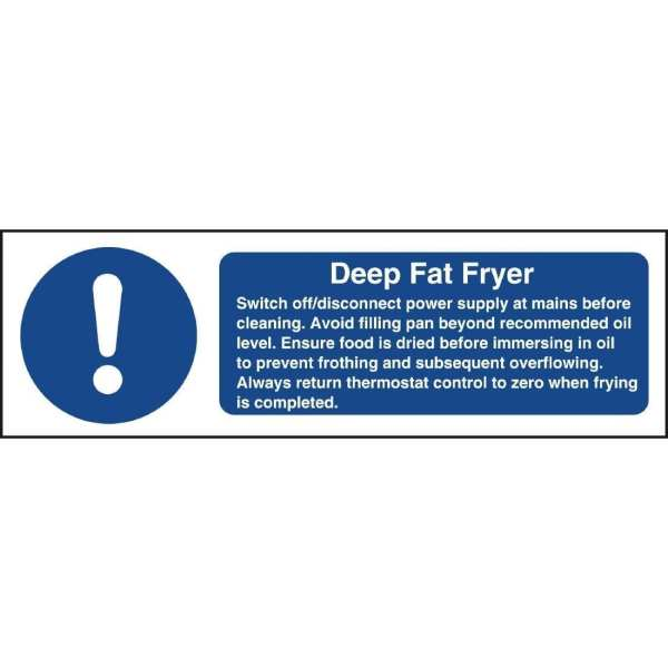 Deep Fat Fryer Safety Sign - 100 x300mm (Self-Adhesive)-0