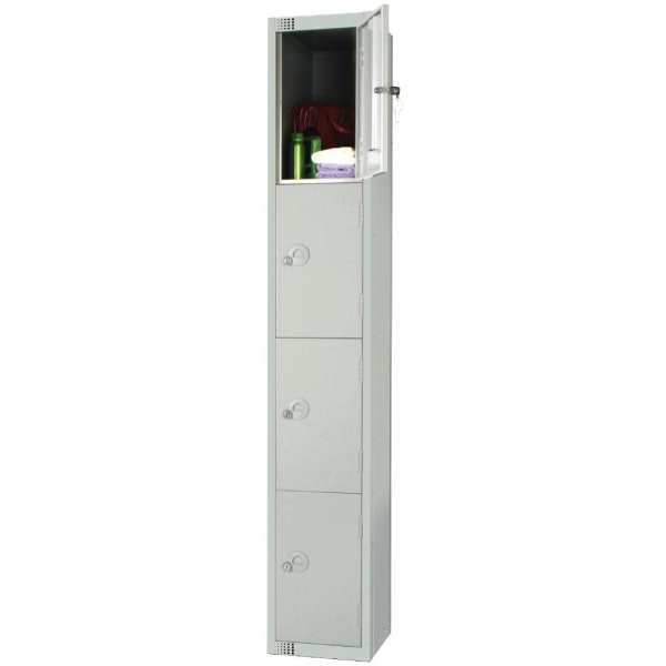 300mm Deep Locker 4 Door Padlock Mid Grey with Sloping Top (Direct)-0