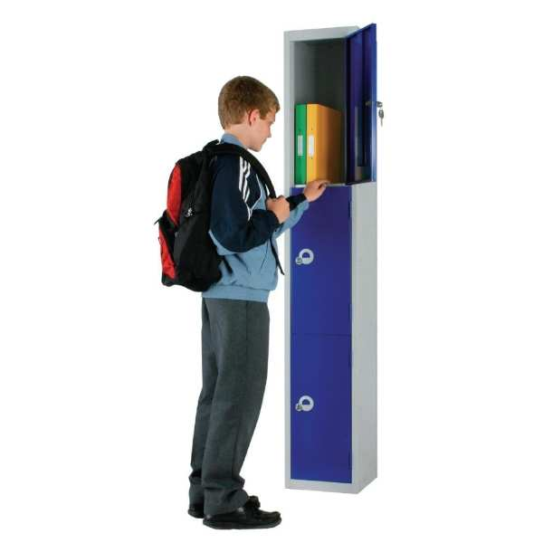 300mm Deep Locker 3 Door Padlock Blue - 1800x300x300mm (Direct)-0