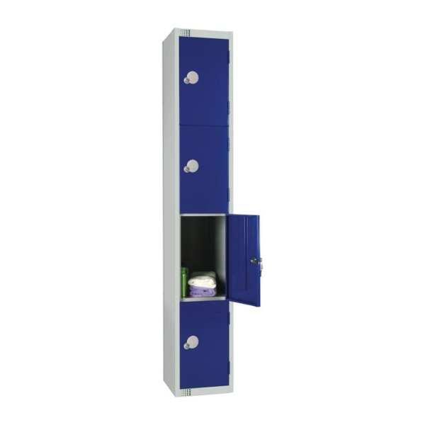 300mm Deep Locker 4 Door Camlock Blue - 1800x300x300mm (Direct)-0