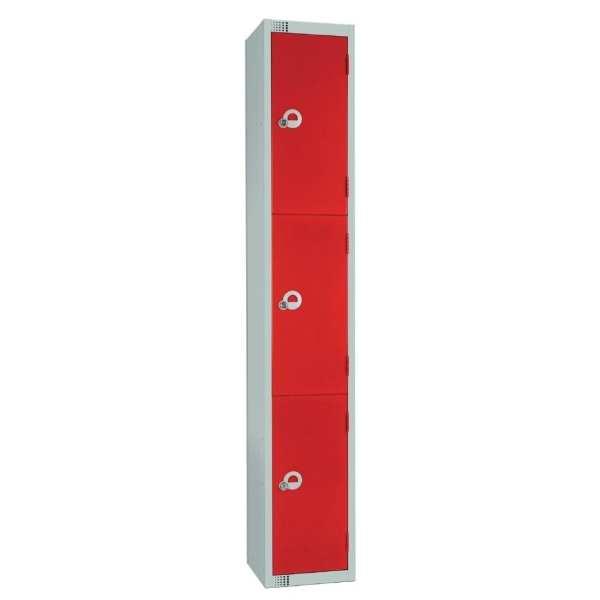 300mm Deep Locker 3 Door Padlock Red with Sloping Top (Direct)-0