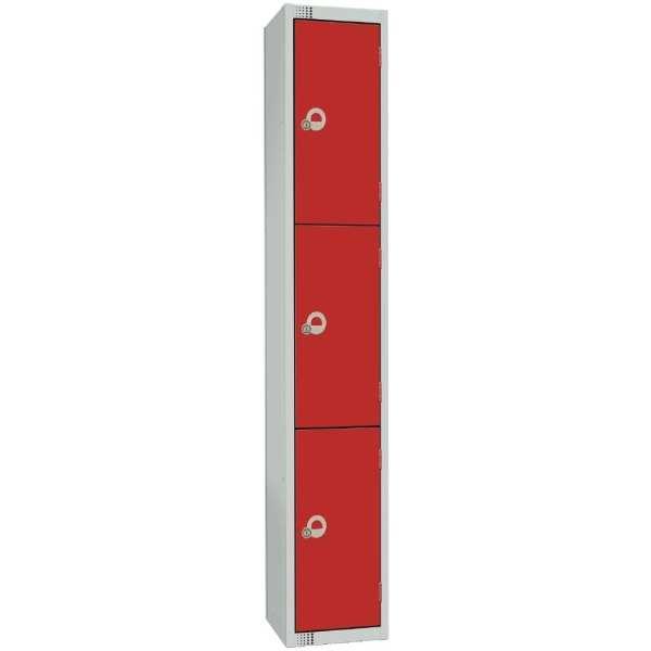 300mm Deep Locker 4 Door Padlock Red - 1800x300x300mm (Direct)-0