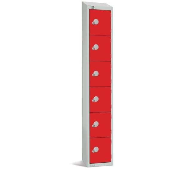 300mm Deep Locker 6 Door Camlock Red with Sloping Top (Direct)-0
