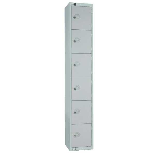 450mm Deep Locker 6 Door Camlock Mid Grey with Sloping Top (Direct)-0