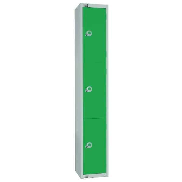 450mm Deep Locker 3 Door Camlock Green with Sloping Top (Direct)-0