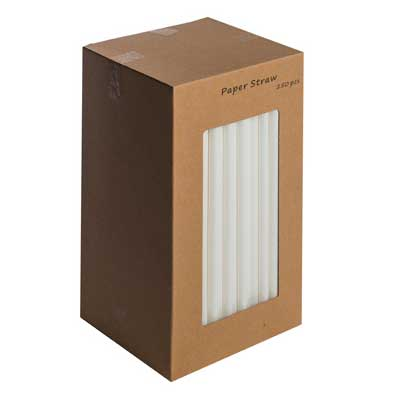 paper straws white 8 inch