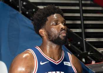 Sixers Center Joel Embiid look on during a game against the Washington Wizards in Washington (All-Pro Reels)
