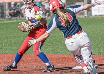 Herbert Hoover's Brooklyn Huffman, left, can't handle the throw from home as Independence's Chloe Hart steals secondbase during Tuesday WV State Tournament action in South Charleston. (F. Brian Ferguson/Lootpress)
