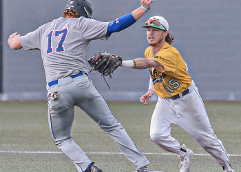 Champion City's Brent Widder, left, is tagged out by Miners shortstop Jake Reifsnyder on a failed steal attempt during Wednesday evening action in Beckley. (F. Brian Ferguson/Lootpress)