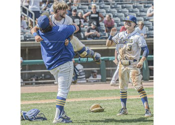 Logan Assistant Coach Lou Green picks up catcher Jake Ramey as Korbin Bostic looks on while Logan celebrates their Class AA state championship on Saturday in Charleston. (F. Brian Ferguson/Lootpress)