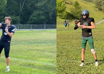 Wyoming County quarterbacks Jaxon Cogar (left) and Jackson Danielson (right) practice on Aug. 9.