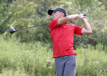 (Brad Davis/For LootPress) Oak Hill's Jack Hayes tees off during a high school golf event at Bridge Haven Golf Club Wednesday afternoon.