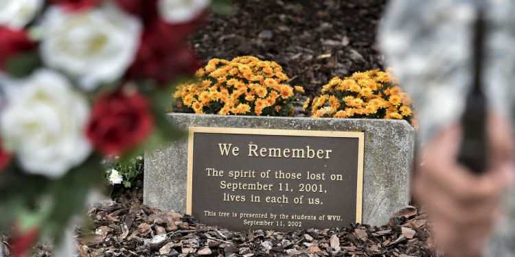The Sept. 11th memorial site on WVU's downtown campus serves as a gathering point for those paying tribute to victims of the 2001 terrorist attacks. (WVU Photo/Greg Ellis)