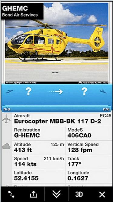 La aplicación sigue el helicóptero en el que viaja el príncipe William. Foto de The Mail on Sunday