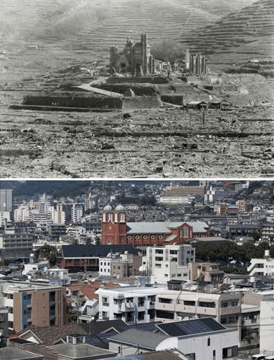 Momentos después de la caída de la bomba atómica en Nagasaki. Abajo, la reconstrucción de la ciudad. Foto de Reuters