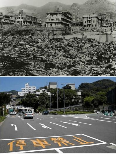 El Colegio Nacional de Medicina antes y después de su reconstrucción tras la caída de la bomba atómica en Nagasaki. Foto de Reuters