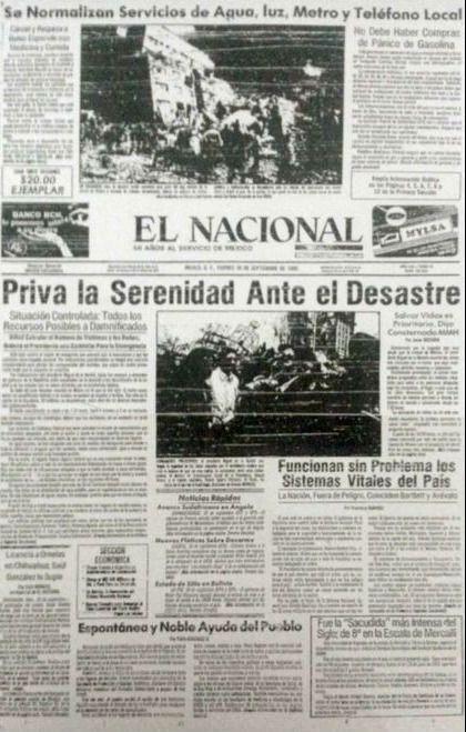 Portadas De Periodicos Del 19 De Septiembre De 1985