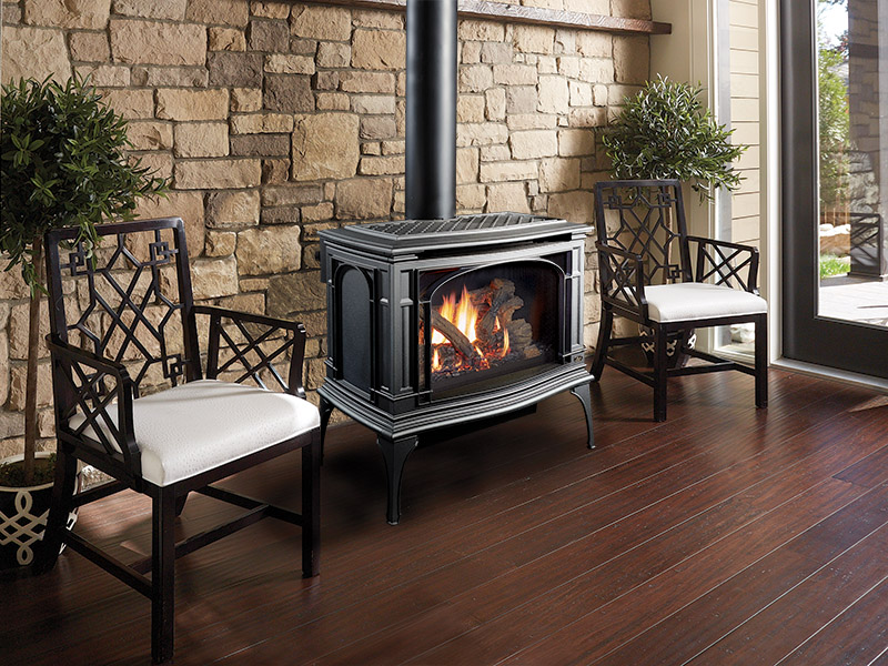 With a chimney, faux logs, flame effects. Stoves Wood Gas Pellet Lopi Stoves