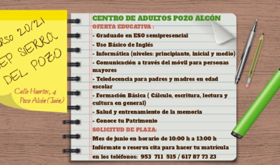 Oferta educativa del Centro de Adultos