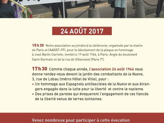 24 Agosto, Paris: Homenaje a los antifascistas de la nueve