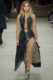 Fashion week highlight: The beautiful Suki Waterhouse draped in homespun prints and textures at Burberry.