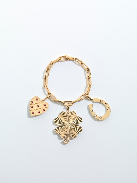 Love and Luck 14K 19 Inch Bracelet in Yellow gold: Four Leaf Clover hand etched and set with 0.38ct of diamonds 14K Small Heart Hand etched and set with 0.42ct of rubies 14K Horseshoe set with 0.19ct of diamonds