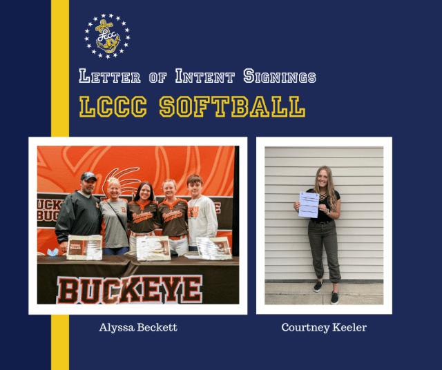 Letter of Intent Signings. LCCC Softball. Alyssa Beckett. Courtney Keeler