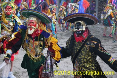 Although before sunrise, the Dance of the Toritos is already in the street in Joyabaj.